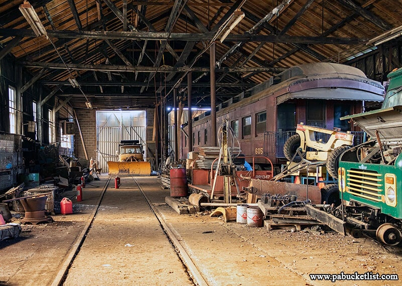A look inside the former Berwind Coal Company Railroad Shop, now part of the Vintage Electric Streetcar Company.