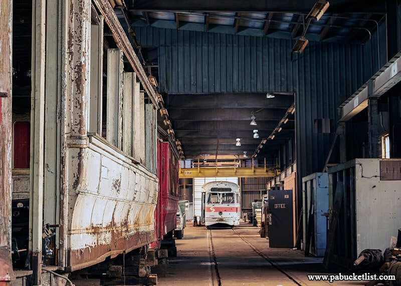 This once-bustling rail car shop now sits silent at the Windber Trolley Graveyard.