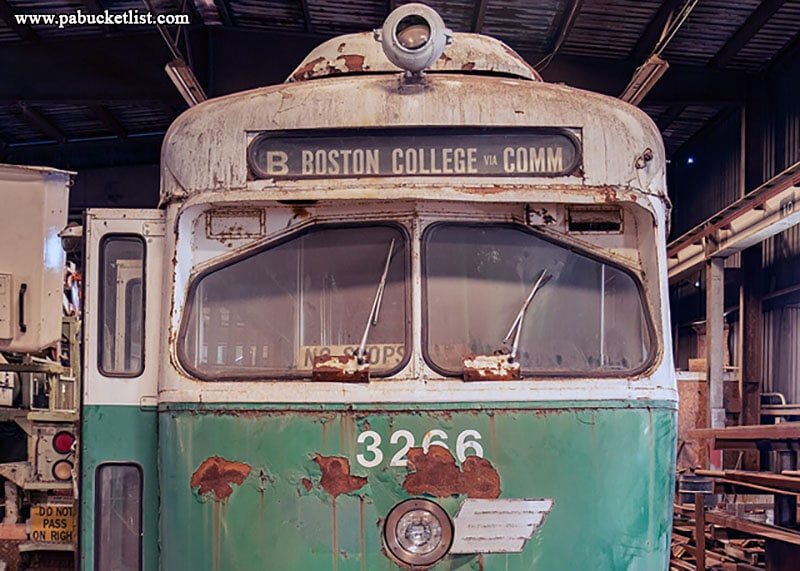 This trolley once carried passengers to Boston College, but now sits inside the repair shop at the Windber Trolley Graveyard.