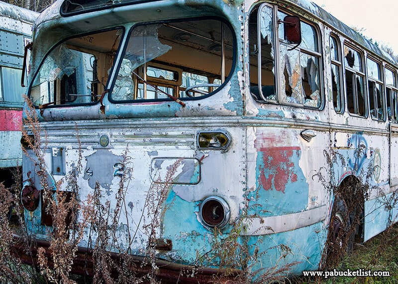 This forlorn-looking trolleybus sits near the front of the property at the Windber Trolley Graveyard.
