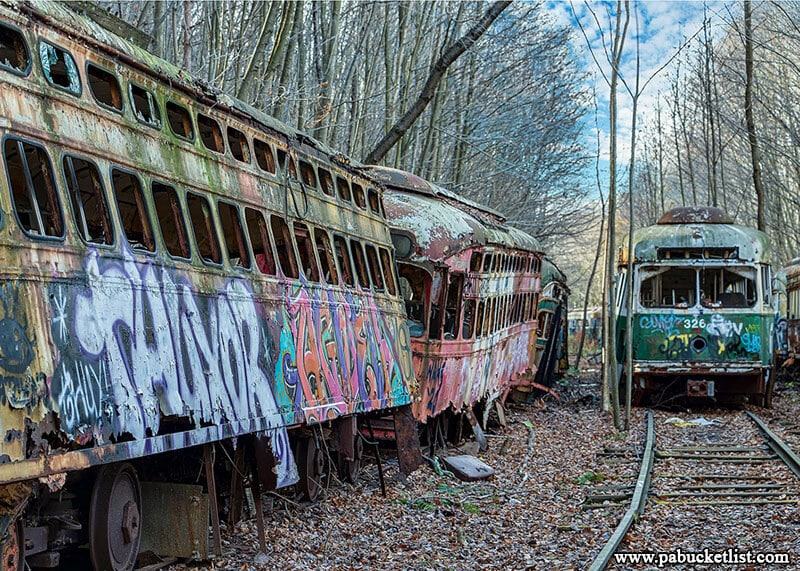 The parallel train tracks where many of the vintage trolley cars sit rusting away in Windber, Pennsylvania.