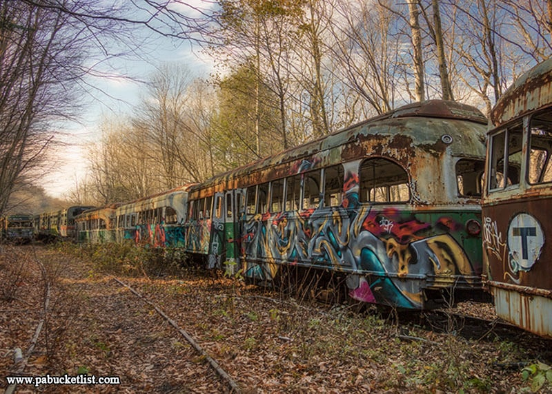 Some of the more colorful graffiti towards the back of the property at the Windber Trolley Graveyard.