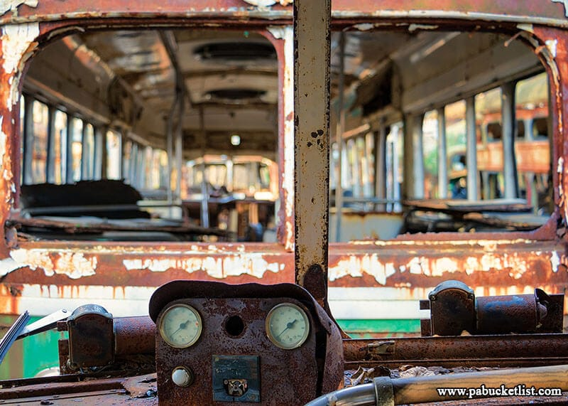 An instrument cluster on a long-defunct streetcar at the Abandoned Trolley Graveyard in Windber, Pennsylvania.