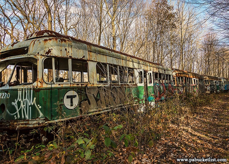 One of three parallel tracks of old trolley cars located on the grounds of the Vintage Electric Streetcar Company, more commonly known as the Windber Trolley Graveyard.