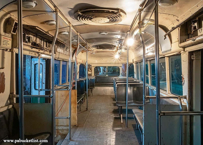 A look inside one of the more restored streetcars at the Vintage Electric Streetcar Company in Windber, PA - AKA the Abandoned Trolley Graveyard.
