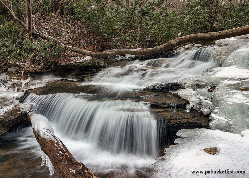 A winter scene from Bruner Run at Ohiopyle State Park