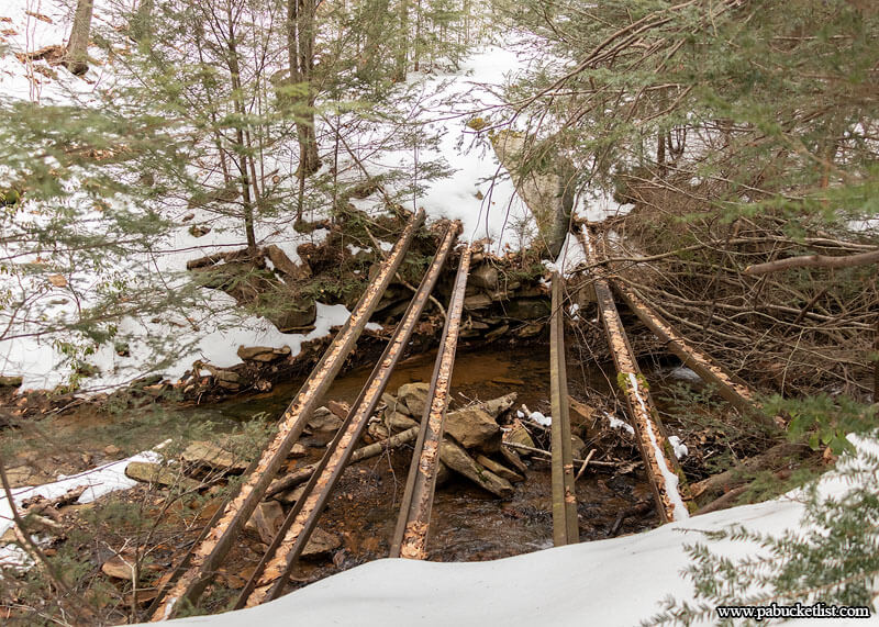 Remnant of a rail bridge over Dutchmans Run in the McIntyre Wild Area.