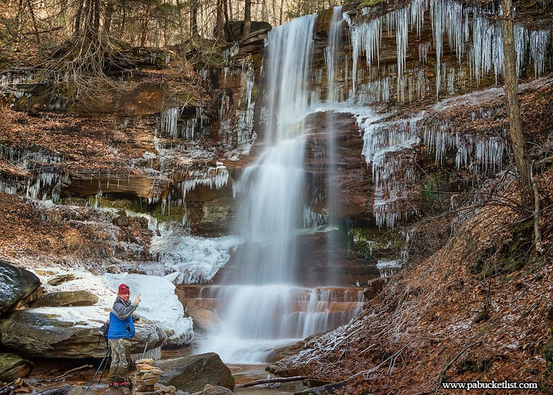A look at the roughly 30-foot tall First Waterfalls on Dutchmans Run in the McIntyre Wild Area