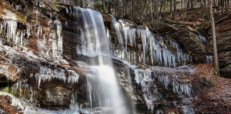 Ice formations surround the First Falls on Dutchmans Run in the McIntyre Wild Area, Lycoming County PA.
