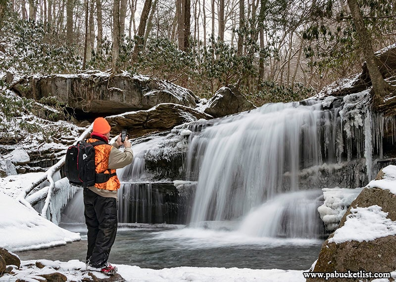 Snow and ice at Lower Jonathan Run Falls at Ohiopyle State Park.