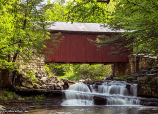 A summertime view of the Pack Saddle Covered Bridge in Somerset County, PA.