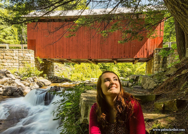 The Pack Saddle Covered Bridge is an extremely popular spot for senior portraits and engagement photos.
