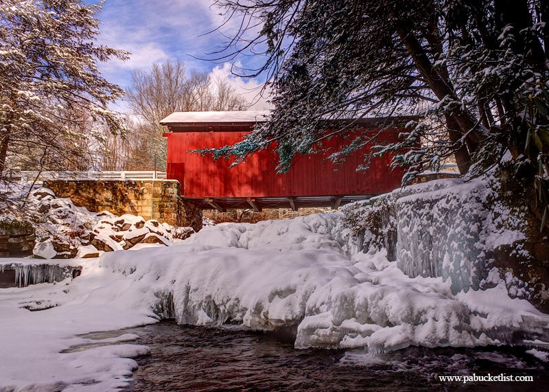 A hard winter freeze at the Pack Saddle Bridge in the Laurel Highlands of Pennsylvania.