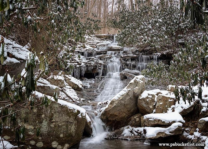 A winter scene at Sugar Run Falls at Ohiopyle State Park