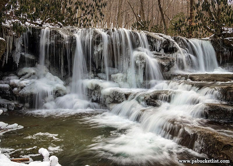 A winter scene at Upper Jonathan Run Falls at Ohiopyle State Park