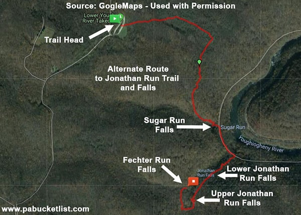 Map of the best alternate hiking route to visit the waterfalls on Jonathan Run at Ohiopyle State Park.