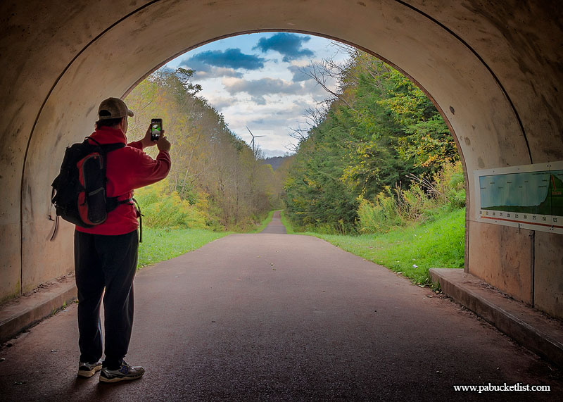 Standing inside the Eastern Continental Divide tunnel, facing the Big Savage Tunnel 1.2 miles away, along the Great Allegheny Passage.