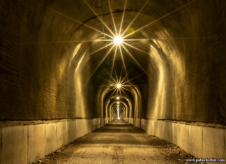 The well-lit and refurbished Big Savage Tunnel along the Great Allegheny Passage in Somerset County PA.