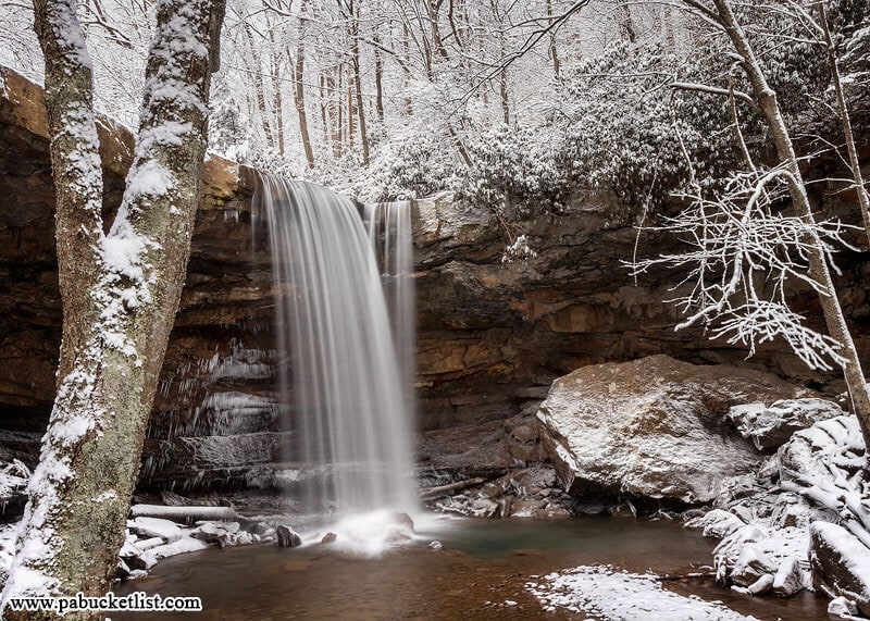 A stream-level view of Cucumber Falls on a winter day. Ohiopyle State Park, Fayette County PA.