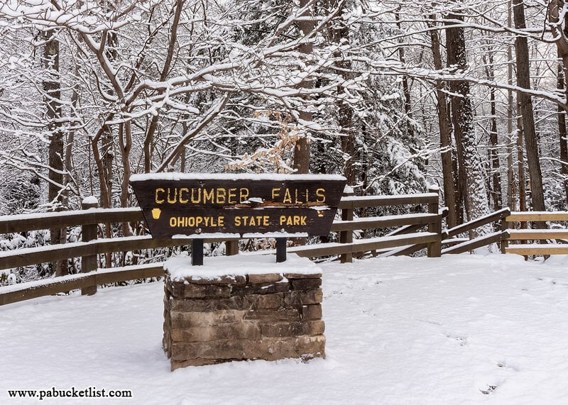 Cucumber Falls sign at Ohiopyle Falls State Park, Fayette County Pennsylvania