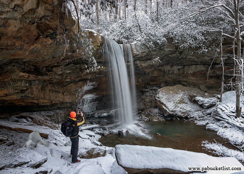 A self-portrait at Cucumber Falls on a snowy winter day. Ohiopyle State Park, Fayette County, PA