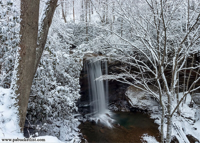 The view from above Cucumber Falls on a winter day. Ohiopyle State Park, Fayette County, PA