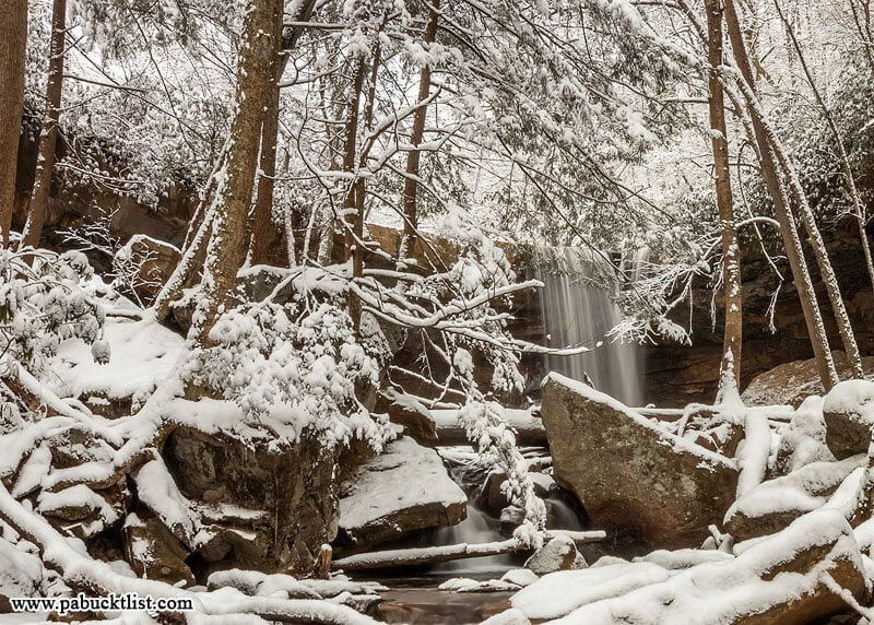 A downstream view of Cucumber Falls after a fresh snowfall, Ohiopyle State Park, Fayette County, PA.