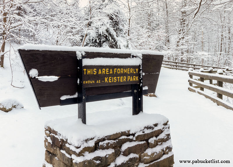 Sign acknowledging the Keister family for donating the land and falls that became part of Ohiopyle State Park.