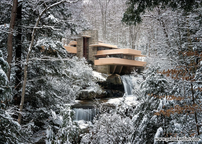 "Fallingwater as seen from the ""Classic View"" on the Visitor Center map."