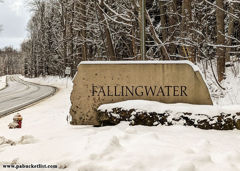 The Fallingwater entrance sign along Route 381 in Fayette County, PA.