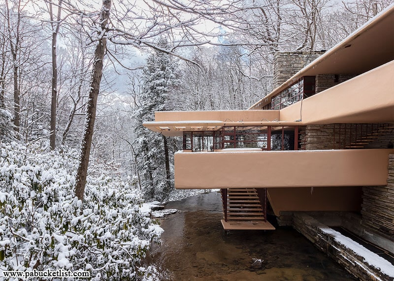 Another view of Fallingwater from the bridge over Bear Run.
