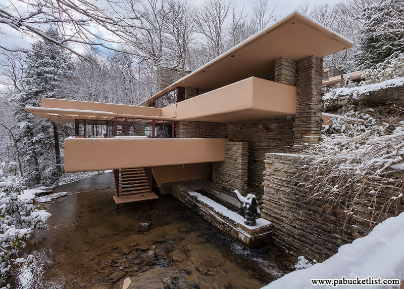 Fallingwater as seen from the bridge over Bear Run.