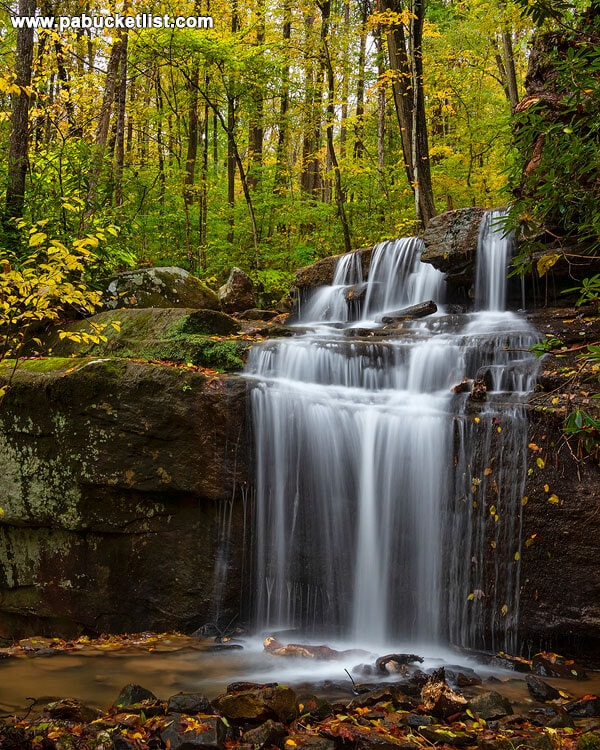 Fall foliage at Fechter Run Falls, Ohiopyle State Park.