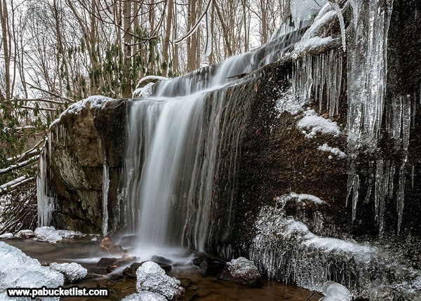 Ice formations at Fechter Run Falls, Ohiopyle State Park.