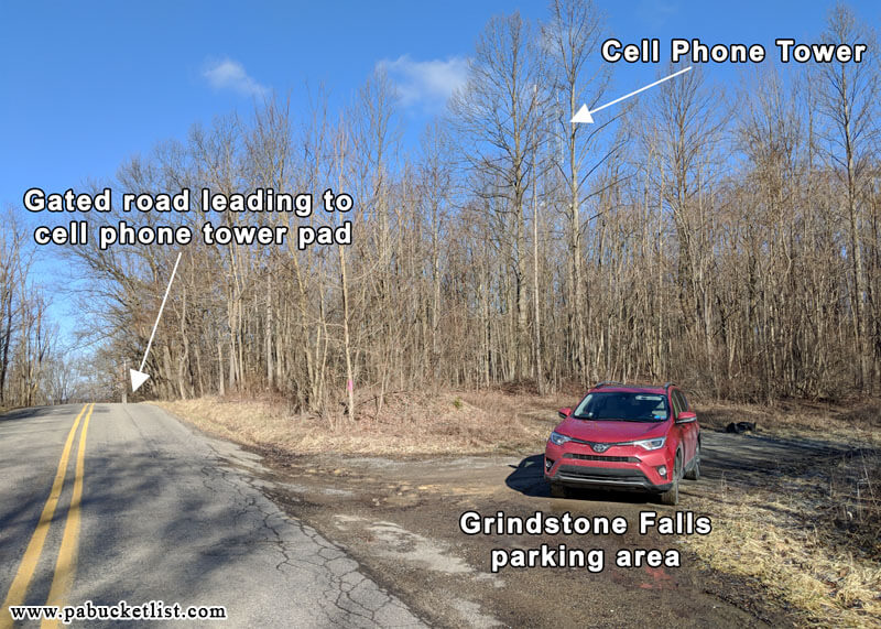 The parking area to use when visiting Grindstone Falls at McConnells Mill State Park