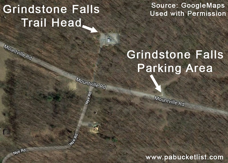 A map showing the parking area and trail head for visiting Grindstone Falls at McConnells Mill State Park