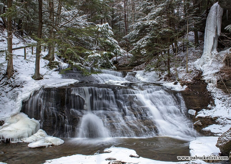 When visiting Hell's Hollow Falls on a snowy day it is often surrounded by ice and snow as it is in this photo.