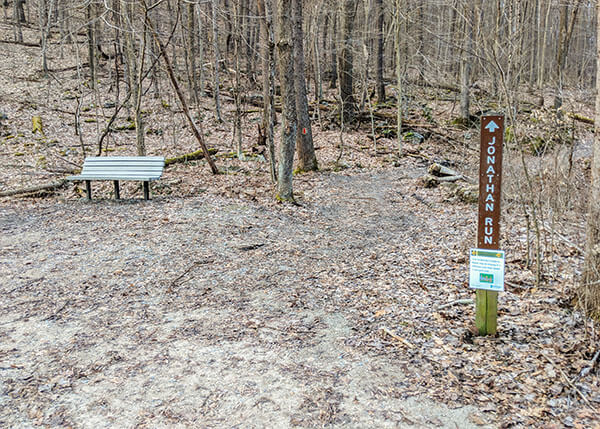 Intersection of the Jonathan Run Trail and the Great Allegheny Passage at Ohiopyle State Park.