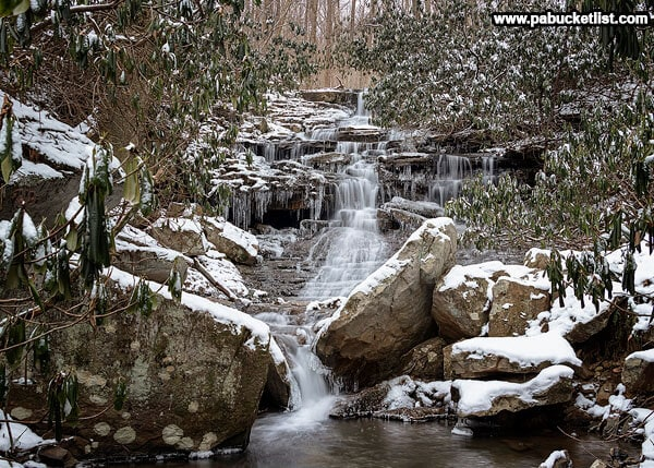 A winter scene at Sugar Run Falls, Ohiopyle State Park.