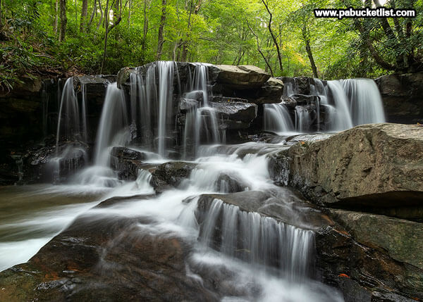 A summer scene at Upper Jonathan Run Falls, Ohiopyle State Park.
