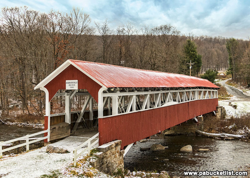 A light dusting of snow at the Barronvale Covered Bridge in Somerset County, PA.