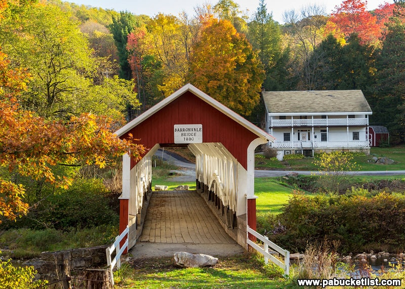 Laurel Highlands fall foliage in full swing at the Barronvale Covered Bridge, Somerset County PA