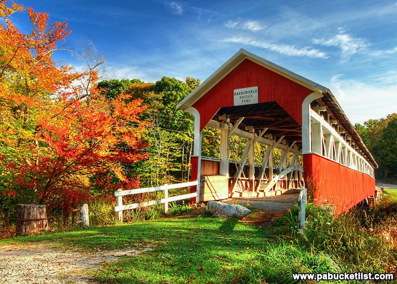 Autumn arrives in the Laurel Highlands at the Barronvale Covered Bridge in Somerset County PA.