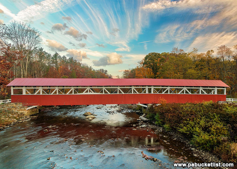 A late summer/early autumn view of Barronvale Covered Bridge and Laurel Hill Creek in Somerset County, PA