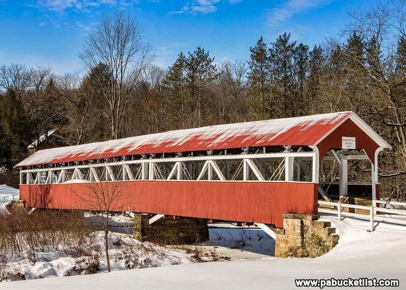 Morning sun warms the Barronvale Covered Bridge on a winter day in the Laurel Highlands of Pennsylvania.