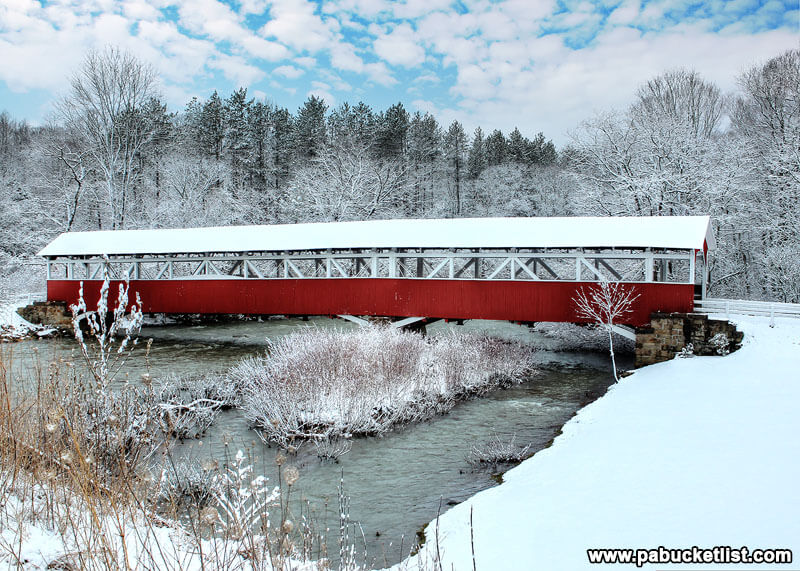A picture-perfect winter day at the Barronvale Covered Bridge in Somerset County, PA
