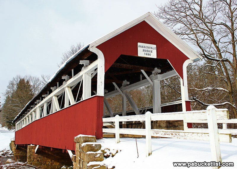 A chilly winter scene at the Barronvale Covered Bridge in Somerset County Pennsylvania