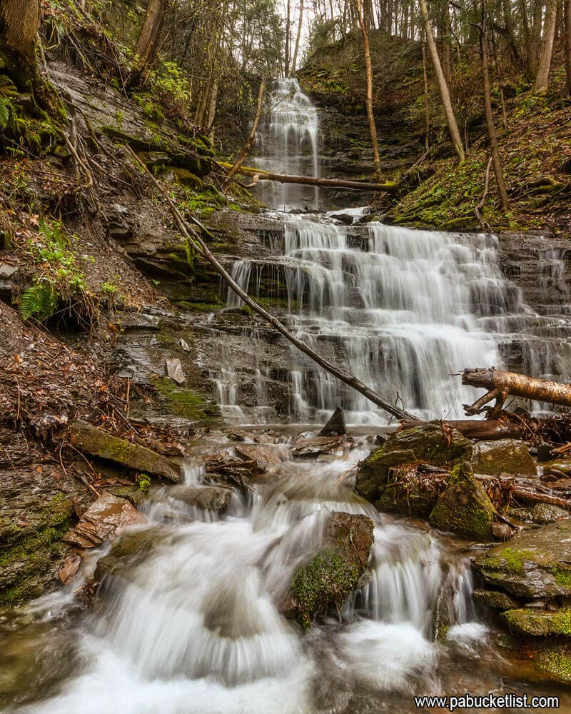 A downstream view of Chimney Hollow Falls.
