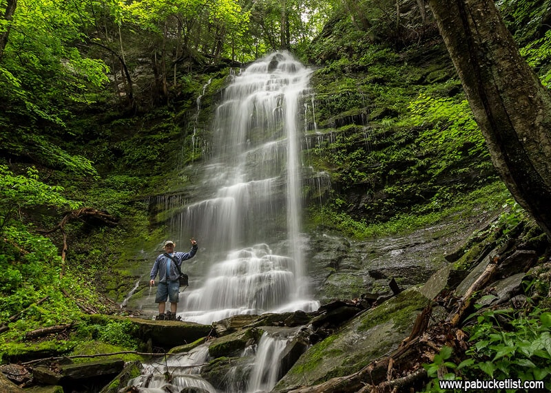 My buddy Steve standing in front of the upper tier of Chimney Hollow Falls.