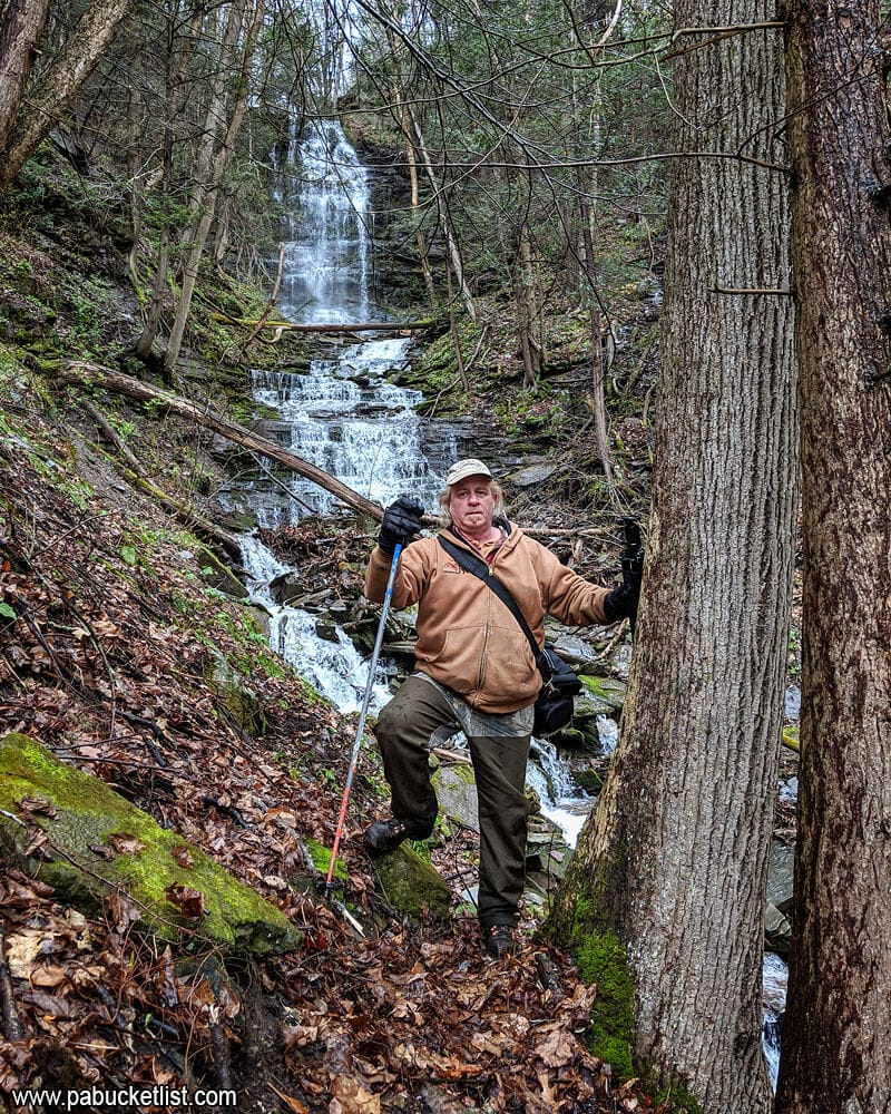 My hiking buddy Steve at the point where we drop down the bank into Owasee Slide Run, below the falls.